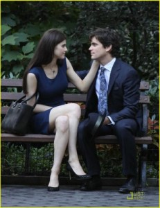 Matt Bomer kissing Alexandra Daddario on the set of 'White Collar' in NYC