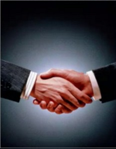 handshaking equal submissive and dominant behavior